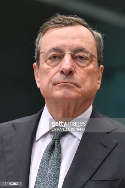 European Central Bank President Mario Draghi looks on during an Eurogroup meeting at the European Commission in Brussels on May 16 2019
