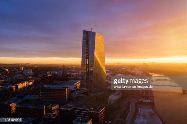european central bank - sunrise aerial view - central bank stock pictures, royalty-free photos & images
