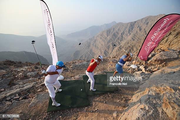 European Challenge Tour players Joel Sjoholm of Sweden Jurrian van der Vaart of the Netherlands and Sandro Piaget of Monaco play from the 'high tee'...