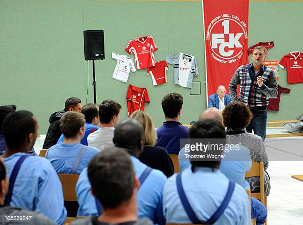 European champion Stefan Kuntz talks to young prisoners during a visit of Sepp Herberger Foundation at a prison on October 13 2010 in Zweibruecken...