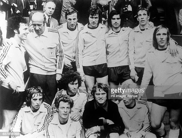 European Champions West Germany pictured after their 3-0 victory over USSR: Franz Beckenbauer, Coach Helmut Schon, Georg Schwarzenbeck, Jupp...