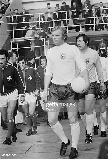 European Championship Group 3 match between England and Malta at Wembley Stadium London 12th May 1971 Leading the England team is captain Bobby Moore...