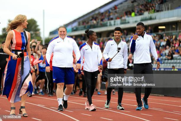 European Championship winning athletes from Great Britain parade during the Muller Grand Prix Birmingham IAAF Diamond League event at Alexander...