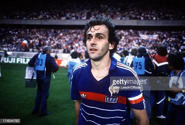 European Championships - France v Spain, Michel Platini walks from the pitch after the French victory.