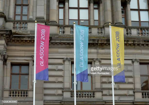 European Championships Glasgow 2018 branding is seen in George Square during previews for the European Championships Glasgow 2018 on July 31 2018 in...