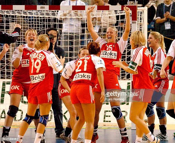 European Championships Handball Hungary DenmarkHungary Denmark celebrating fr l Karen Broedsgaard Lene Tobiasen Henriette Mikkelsen Josephine Touray...