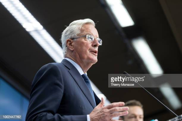 European Chief Negotiator for the United Kingdom Exiting the European Union Michel Barnier is talking to media at the end of an EU General affairs...