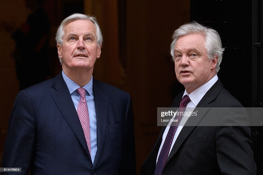 UK's Brexit Minister Hosts Chief Brexit Negotiator At Downing Street Working Lunch