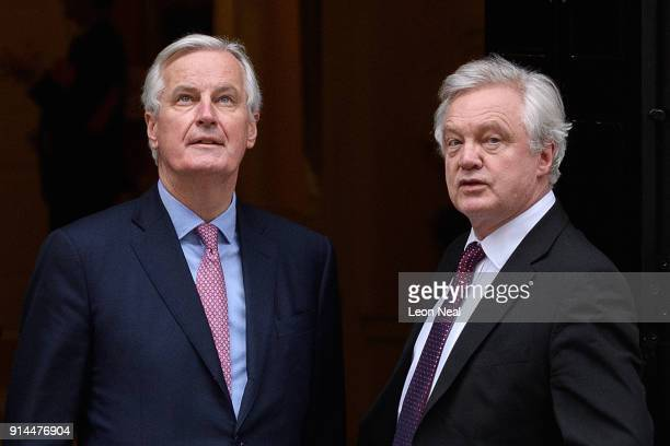 European Chief Negotiator for the United Kingdom Exiting the European Union Michel Barnier and Brexit Secretary David Davis walk in Downing Street...