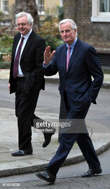 European Chief Negotiator for the United Kingdom Exiting the European Union Michel Barnier and Brexit Secretary David Davis walk to 10 Downing Street...