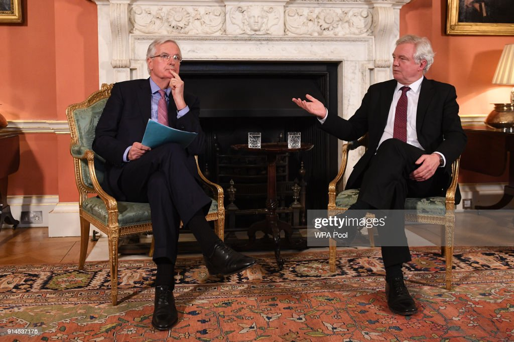 UK's Brexit Minister Hosts Chief Brexit Negotiator At Downing Street Working Lunch : News Photo