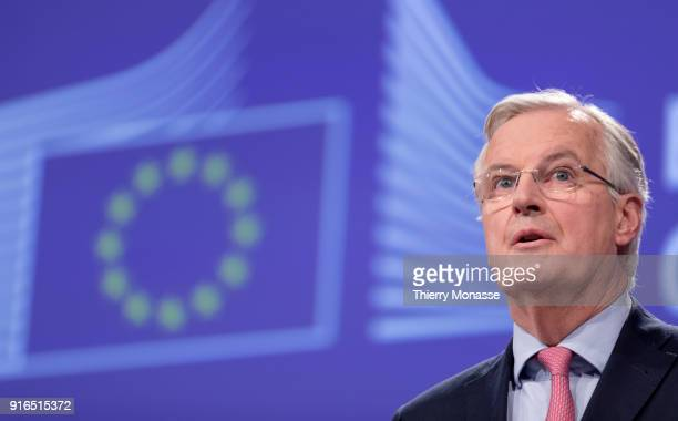 European Chief Negotiator for the United Kingdom Exiting the European Union Michel Barnier gives a press briefing at the end of a round of...