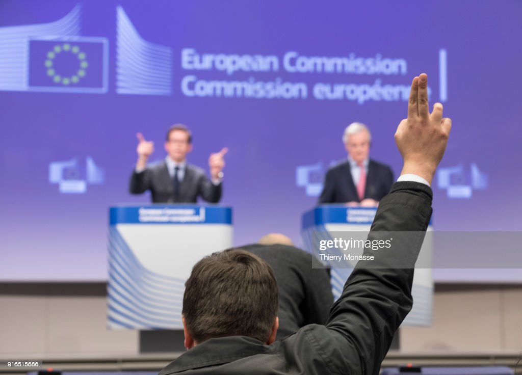 European Chief Negotiator for the United Kingdom Exiting the European Union Michel Barnier gives a press briefing at the end of a round of negotiation on 'Brexit' talks at the EU Commission, on February 9, 2018 in Brussels, Belgium.