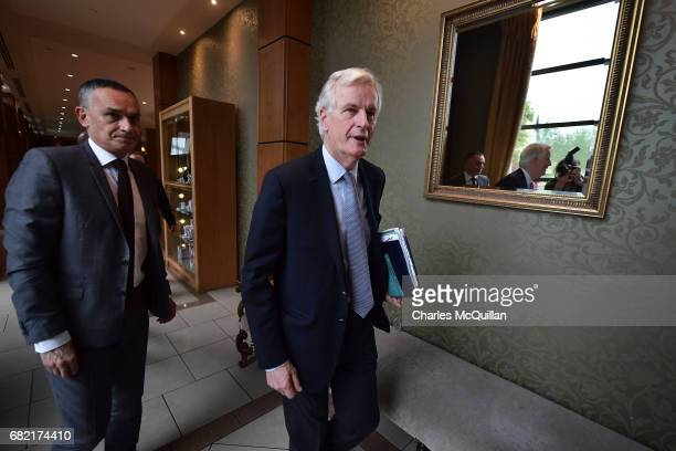European Commission Brexit chief negotiator Michel Barnier arrives for the EPP Group Bureau meeting at Druids Glen on May 12 2017 in Wicklow Ireland...
