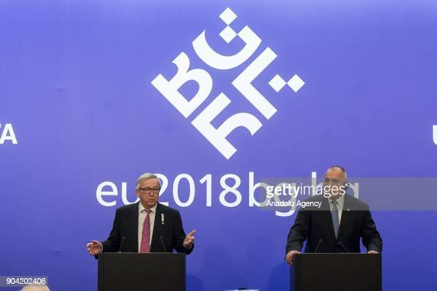 European Commission Chief JeanClaude Juncker and Prime Minister of Bulgaria Boyko Borisov hold a joint press conference in Sofia Bulgaria on January...