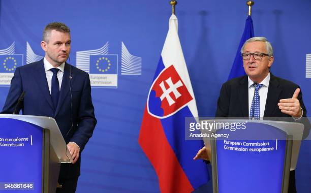 European Commission Chief JeanClaude Juncker makes a speech during a joint press conference with Slovak Prime Minister Peter Pellegrini following...