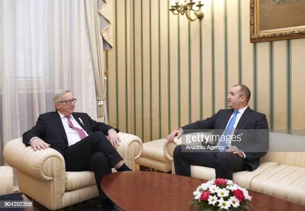 European Commission Chief JeanClaude Juncker meets with President of Bulgaria Rumen Radev in Sofia Bulgaria on January 12 2018