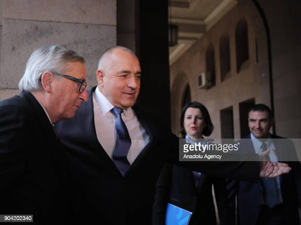 European Commission Chief JeanClaude Juncker meets with Prime Minister of Bulgaria Boyko Borisov in Sofia Bulgaria on January 12 2018