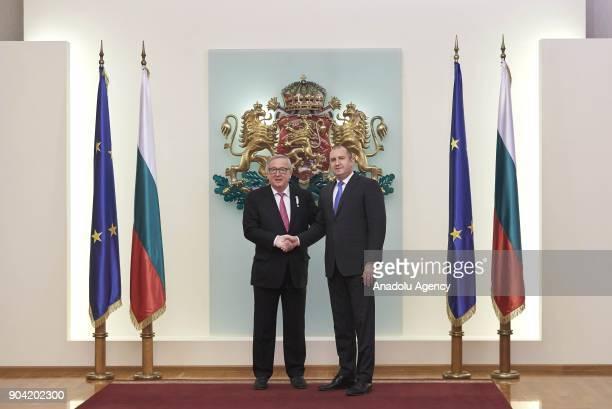 European Commission Chief JeanClaude Juncker shakes hands with President of Bulgaria Rumen Radev in Sofia Bulgaria on January 12 2018