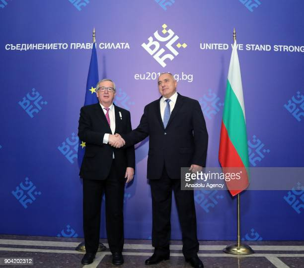 European Commission Chief JeanClaude Juncker shakes hands with Prime Minister of Bulgaria Boyko Borisov in Sofia Bulgaria on January 12 2018