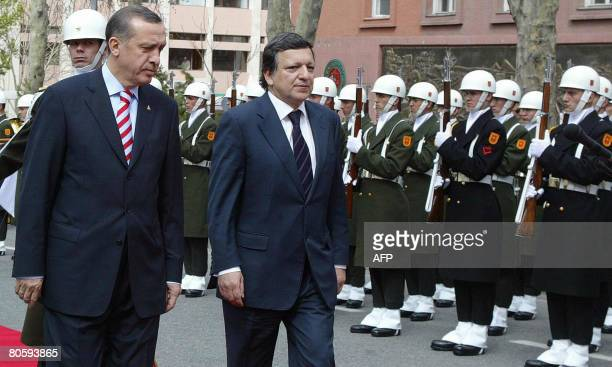 European Commission chief Jose Manuel Barroso and Turkey's Prime Minister Tayyip Erdogan review the honour guards during a welcoming ceremony in...