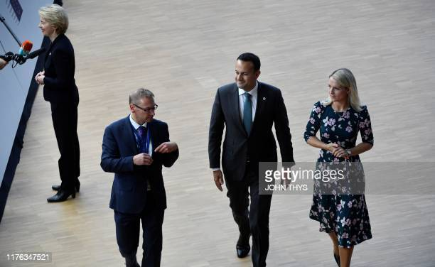 European Commission Chief Ursula Von der Leyen addresses media representatives as Ireland's Prime Minister Leo Varadkar and Ireland's Minister for...