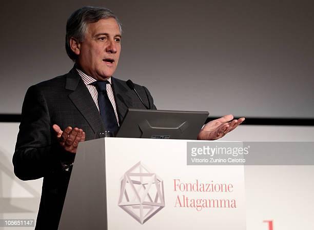 European Commission Cice President Antonio Tajani speaks during the 'Osservatorio Altagamma 2010' meeting held at Museo della Scienza e della Tecnica...