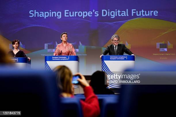 European Commission Executive Vice-President Margrethe Vestager and EU Commissioner for Internal Market Thierry Breton give a press conference on...