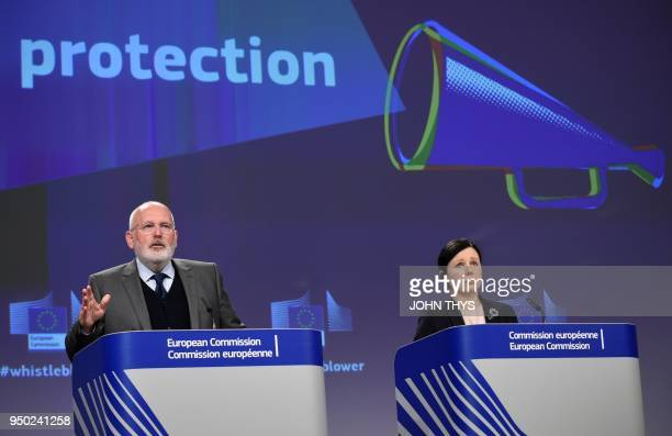 European Commission First VicePresident Frans Timmermans spekas during a joint press conference with European Commissionner for Justice Consumers and...