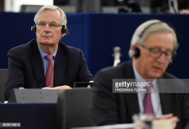European commission member in charge of Brexit negotiations with Britain Michel Barnier attends a debate at the European Parliament on January 17...