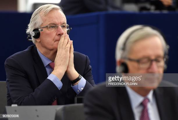 European commission member in charge of Brexit negotiations with Britain Michel Barnier reacst as he attends a debate at the European Parliament on...