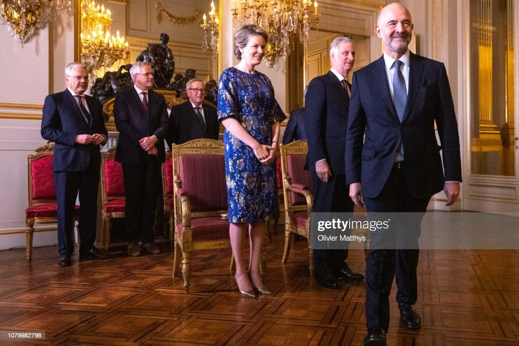King Philippe Of Belgium  Receives Heads of the European Institutions And Representatives Of The European Union In Brussels : News Photo