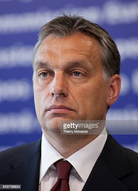 European Commission President and newly elected Hungarian Prime Minister Viktor Orban speak to the media after a working lunch in the EU Commission...