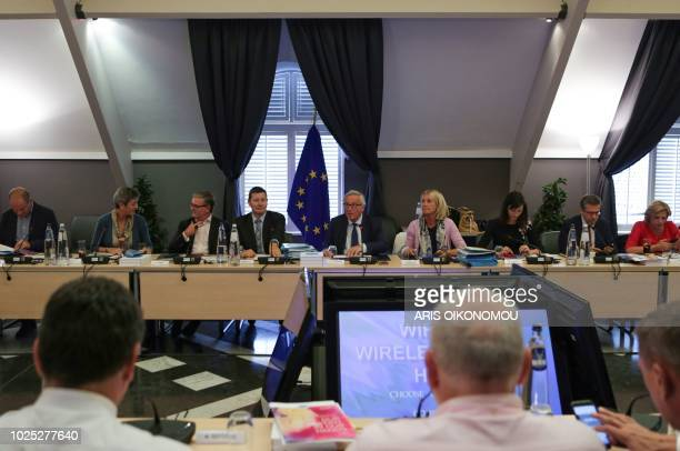 European Commission President JeanClaude Juncker addresses members of the European Commission at the beginning of the group's seminar at Genval...