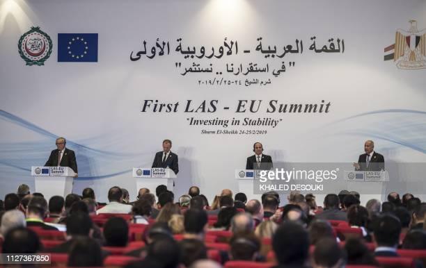 European Commission President JeanClaude Juncker along with European Council President Donald Tusk Egyptian President Abdel Fattah alSisi and Arab...