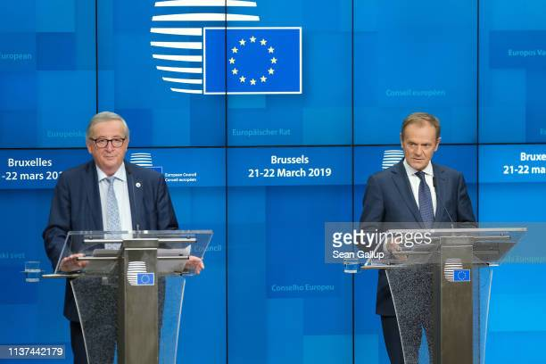 European Commission President Jean-Claude Juncker and European Council President Donald Tusk speak to the media at the end of the first of a two-day...