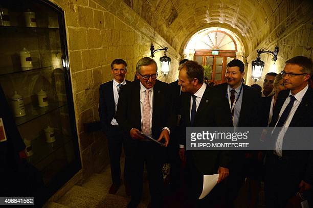 European Commission President Jean-Claude Juncker and European Council President Donald Tusk arrive to give a press conference after an Informal...
