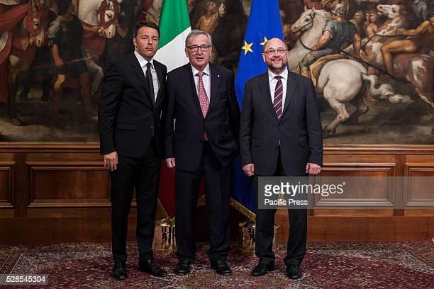 European Commission President JeanClaude Juncker and European Parliament President Martin Schulz meets Italian Prime Minister Matteo Renzi for a...