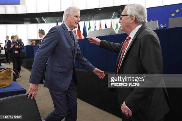 European Commission President JeanClaude Juncker and European Union's chief Brexit negotiator Michel Barnier arrive for a debate on UKs withdrawal...