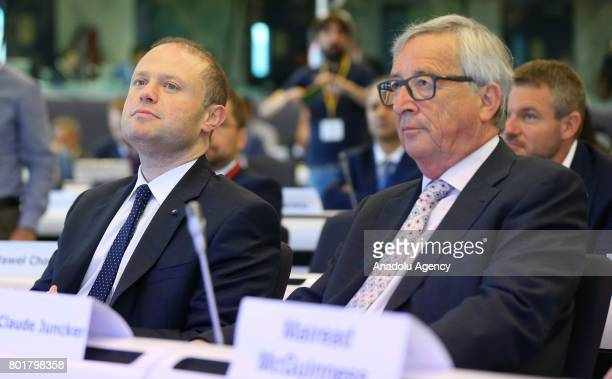 European Commission President JeanClaude Juncker and Malta's Prime Minister Joseph Muscat attend the 7th Cohesion Forum in Brussels Belgium on June...