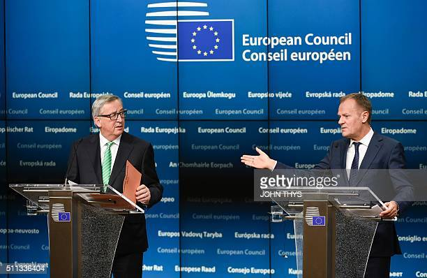 European Commission President JeanClaude Juncker and President of Council Donald Tusk give a joint press during an European Summit at the EU...
