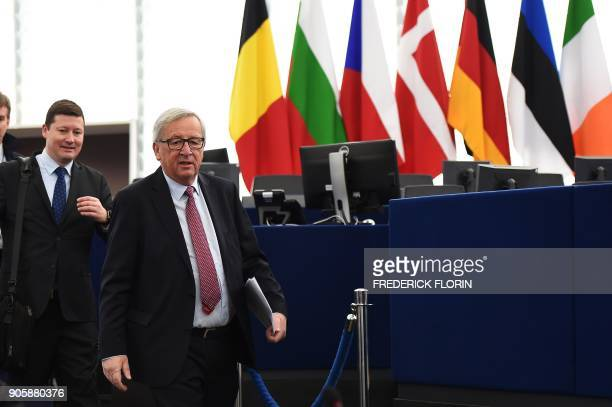 European Commission President JeanClaude Juncker arrives to attend the presentation of the Bulgarian Presidency priorities for the incoming EU...
