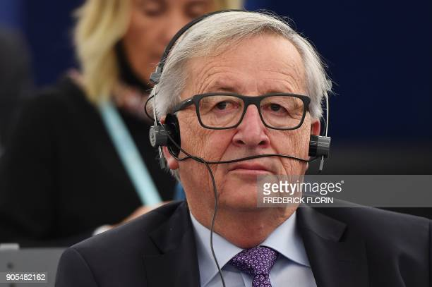European Commission President JeanClaude Juncker attends a debate at the European Parliament in Strasbourg eastern France on January 16 2018 / AFP...