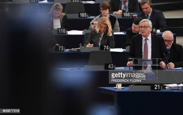 European Commission President JeanClaude Juncker delivers a speech to present the Bulgarian Presidency priorities for the incoming EU Council at the...