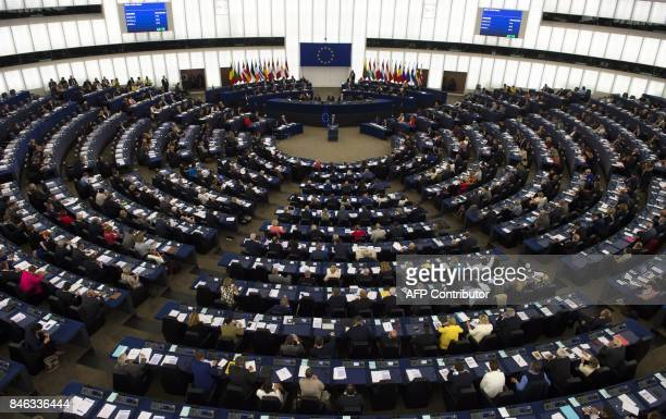 European Commission President JeanClaude Juncker delivers his State of the Union speech at the European Parliament in Strasbourg eastern France on...
