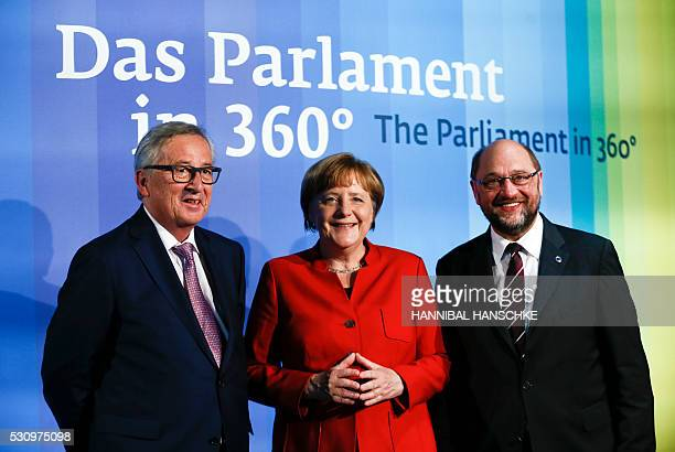 European Commission President JeanClaude Juncker German Chancellor Angela Merkel and European Parliament President Martin Schulz pose during the...
