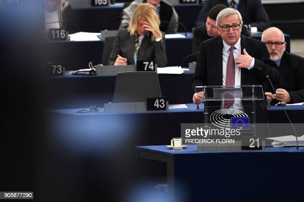 European Commission President JeanClaude Juncker gestures as he delivers a speech to present the Bulgarian Presidency priorities for the incoming EU...