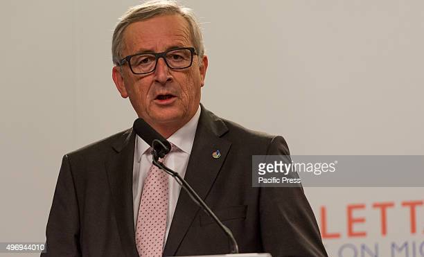 European Commission President Jean-Claude Juncker give a press meeting at the end of the informal meeting of EU heads, main point of discussion...