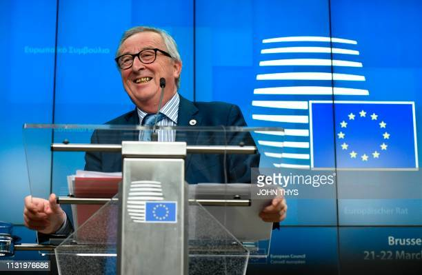 European Commission President JeanClaude Juncker gives a joint press with the Europan Council president at the end of an EU summit focused on Brexit...