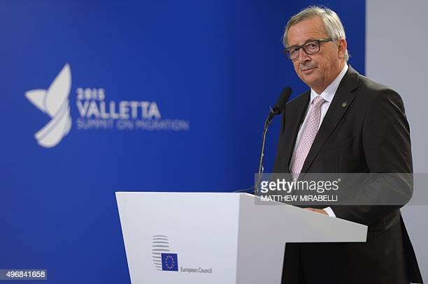 European Commission President Jean-Claude Juncker gives a press conference after an Informal European Council meeting following the European Union -...